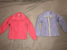 Euc Lot of 2 Girls Columbia Fleece Jackets Size 14/16 Purple Pink Soft Zip Up