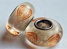 925 Sterling Silver and Glass Heart Charm Bead for Bracelet