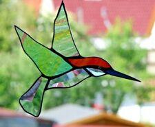 Bleiverglasung Fensterbild Suncatcher Facetten-Blauschnabel- Kolibri in Tiffany