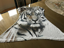 Women Tiger Print Long Shirt Summer Casual Blouse Top