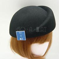 FASHION Wool Felt Women Pillbox Hat Beret Groove Cloche | 57cm | Burgundy Beige