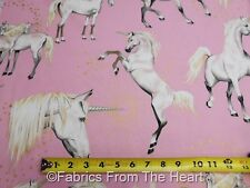 Unicorns Horses Dance on Pink w Gold Metallic  BY YARDS Alexander Henry Fabric