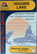 Higgins Lake Detailed Fishing Lake Map, GPS Pts, Waterproof, Depth Contour #M306