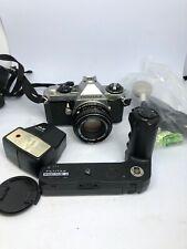 Pentax ME Super 35mm Film manual SLR Camera+Pentax M 50/1:2 smc Lens+Accessor795