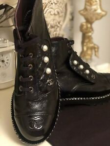 CHANEL BOOTS/COMBAT With PEARL And VELVET TRIM Size 38 US 7