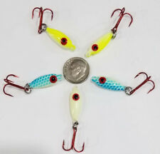 5 DEADLY! 1/8 oz Glow in Dark Ice Fishing Jig Lure Drop Bait USA Walleye Perch