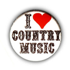Badge I LOVE COUNTRY - MUSIC ♥ heart Urban Cowboy Western rock pin button Ø25mm