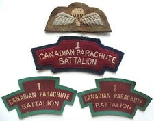 RARE WWII 1ST CANADIAN PARACHUTE BATTALION AIRBORNE WINGS SHOULDER TITLES PATCH