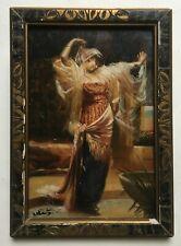 Petit tableau ancien signé, Danseuse orientale, Huile sur panneau, Encadré, XXe