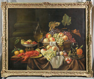 Dutch Style Still Life Fruits & Seafood Red Lobster Grapes with Gold Frame