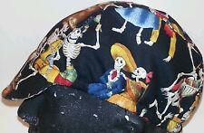 Cycling cap reversible wool color gray/fiesta de muertos one size  handmade CALI