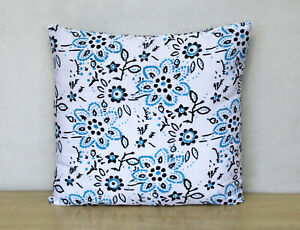 Cushion Cover 100% Block Printed Multicoloured Floral Cotton Pillow Covers Throw