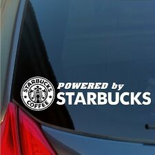 Powered by Starbucks vinyl sticker decal coffee bean tea leaf gift card mug SUV