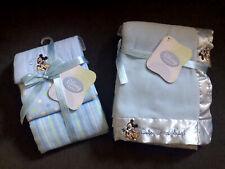 DISNEY BABY MICKEY MOUSE BLUE FLEECE BLANKET & 3PK RECEIVING BLANKET BUNDLE- NEW