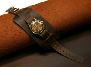 Leather watch band bund strap, cognac Aviator leather cuff watch band mens