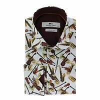 BRAND NEW CLAUDIO LUGLI VOILIN  PRINTED SATIN COTTON MEN'S SHIRT