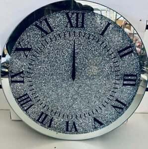 Silver Crushed Round Crystal Modern Roman Wall Clock Sparkle Diamante 35 x 35cm