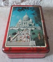 Old Biscuits tin box advertising candy France Sacre Coeur Paris vintage 1950s