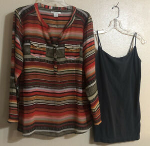 Ariat Women's Stripe Serape Sheer LS Tunic Top Pockets/Nikibiki Cami