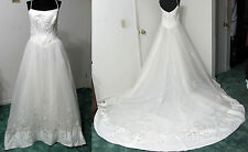 WEDDING GOWN 12 Ivory Bridal Dress Silver Embroidery Drop-Waist Train EUC