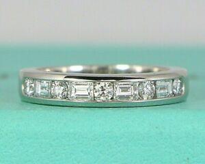 $4,100 Tiffany Co Platinum Round Baguette Diamond Half Circle 3.6mm Wedding Band