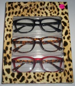 NEW Betsey Johnson 3 PAIR Reading Glasses Black/Brown Tortoise/RED Readers +2.50