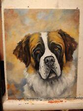 ORiginAL Oil Painting~Saint Bernard*Dog~Portrait~Hand Painted~one of a Kind--Art