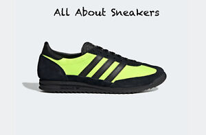 """Adidas SL 72 """"Core Black / Core Black / Solar Y"""" Trainers All Size Limited Stock"""