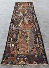 3 x 10'1 Handmade vintage afghan baluchi pictorial rug, Rare pictorial runner