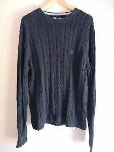 Ralph Lauren Chaps Black Cable Knit Cotton Jumper - Men's Large
