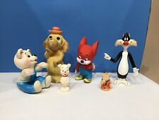 Rubber Squeaky Toys Lot of 6 Dakin Sylvester~Jerry the Mouse~ Fred Flintstone ++