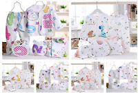 5Pcs Newborn Baby Outfits Sets Boy Girl Suits Toddler Cotton Clothes Sets 0-3M