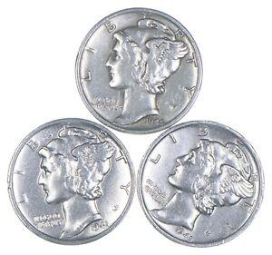 Lot of 3 AU/Unc 1944, 1941-D, 1945-S Mercury Dimes 90% Silver Collection *380
