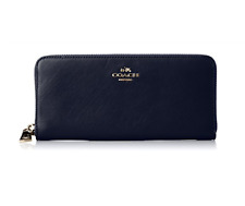 Coach Accordion Leather Zip Wallet Navy