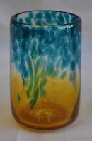 Aqua Marine & Gold Drinking Glasses. Blown Glass by Saul Alcaraz