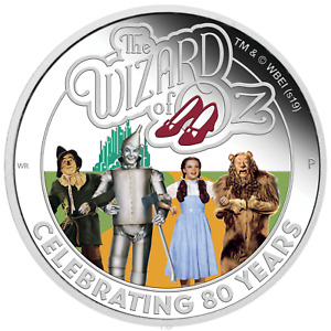 THE WIZARD OF OZ 1oz SILVER COIN 80TY ANNIVERSARY $1 PROOF NEW AUTHENTIC