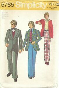 Simplicity 5765 Men's Sportcoat Jacket & Cuffed Wide Leg Pants Sz 44 UNCUT 70s