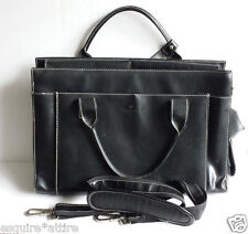 Samsonite black genuine leather women briefcase with shoulder strap