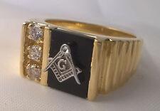 G-Filled Mens 18k gold Mason simulated diamond black onyx Freemason ring Masonic
