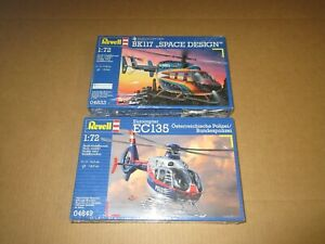 2 REVELL 1:72 SCALE EUROCOPTER EC135 POLICE BK117 SPACE DESIGN MINT SEALED
