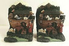 Pair Of Hand Painted Noah'S Ark Bookends Nib Must See!