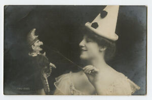 c1907 Child Toy British PUNCH and JUDY PUPPET Doll pierrot clown photo postcard