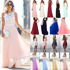 Womens Lace Long Dress Evening Party Gown Formal Bridesmaid Wedding Maxi Dress