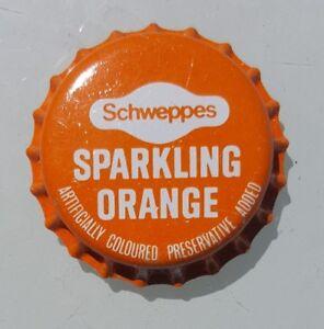SCHWEPPES SPARKLING ORANGE Unused Bottle Cap Top 1970's Soft Drink