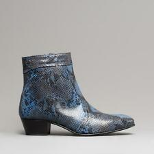 Club Cubano EMMANUEL Mens Snakeskin Style Premium Leather Cuban Heel Boots Blue