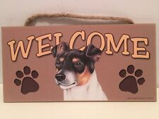 Welcome Rat Terrier Dog Breed Wood Sign Plaque New