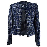 $139 Calvin Klein Womens Petites Open Front Frayed Tweed Jacket Blue Size 2 P