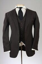 Vintage 80s Allyn St George Brown Pinstripe 2 Piece Jacket/Vest Combo 40 L