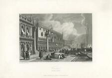 ANTIQUE VENICE ITALY ARCHITECTURE BOAT MEN WATERFRONT DUCAL PALACE ART PRINT