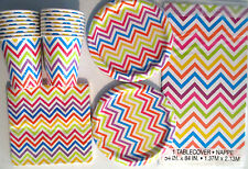 RAINBOW CHEVRON Birthday Party Supply Set Pack Kit for 16